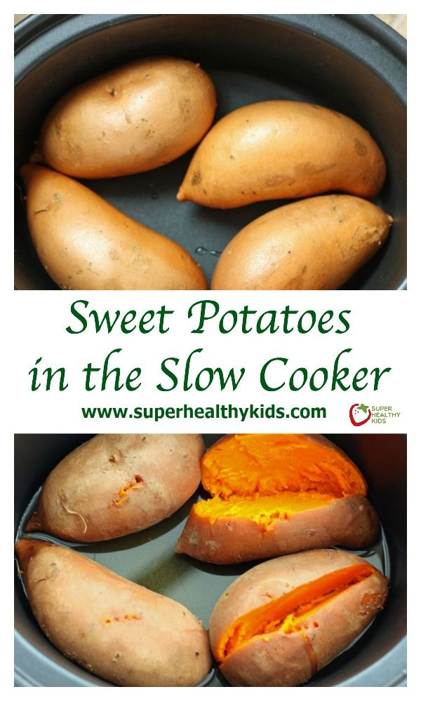 Sweet Potatoes in the Slow Cooker. Creamiest potato ever! www.superhealthykids.com/sweet-potatoes-in-the-slow-cooker