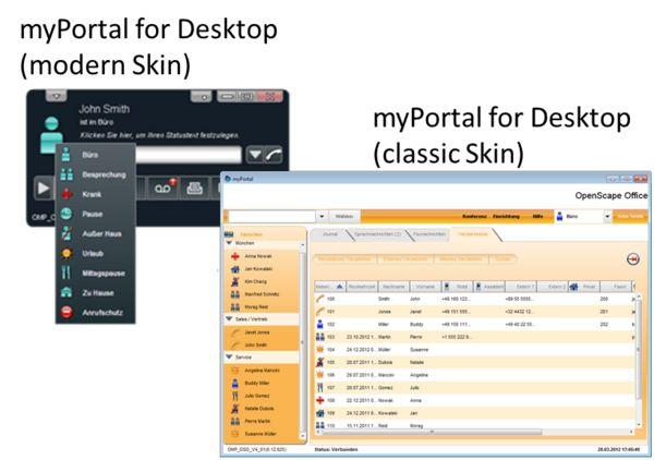 MyPortal for desktop di OpenScape Business, offre un semplice accesso a tutte le più importanti funzionalità UC, quali visualizzazione della presenza...