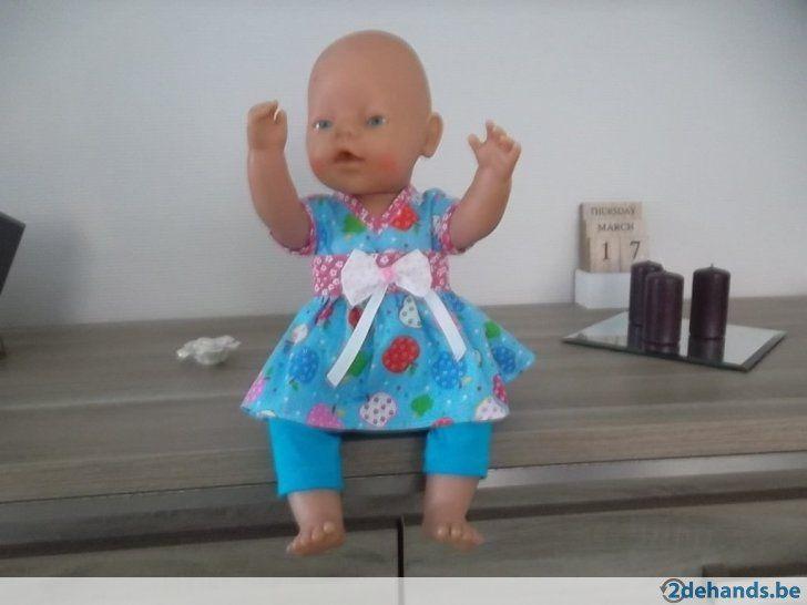2 D blauw appeltjes jurk &legging baby born - Te koop