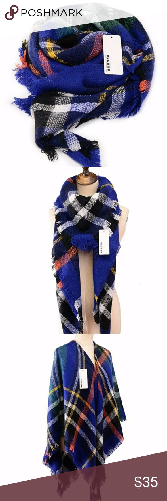 """Oversized royal blue tartan plaid blanket scarf Gorgeously bright colors, super soft acrylic material, warm and cozy. Perfect look for fall and winter. Measures 55"""" x 55"""".  100% Acrylic fibers make this scarf unique, high quality, soft and super warm an cozy. Makes a perfect gift or flash of color to complete those fall fashion outfits. Make any dreary winter day a chance to show off your perfect new scarf! Feel free to make an offer! C.C. Boutique Accessories Scarves & Wraps"""