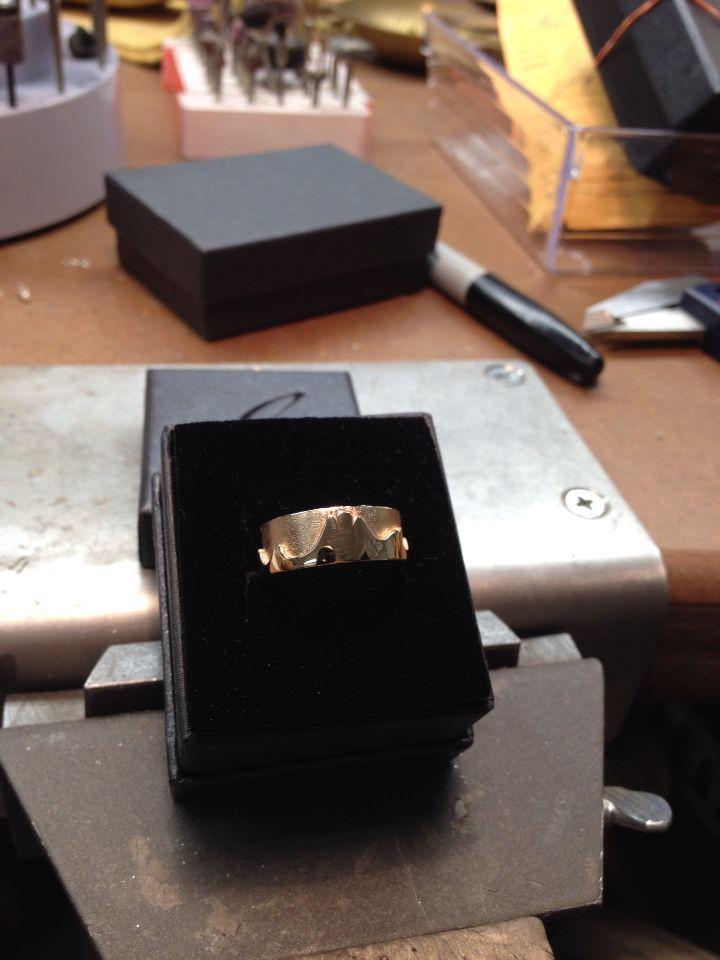 14K yellow gold mountain ring.