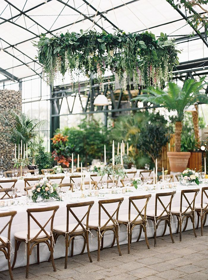 La Tavola Fine Linen Rental: Beatrice Garden Smoke | Photography: Blaine Siesser Photographer, Event Design: VLD Events, Venue: Planterra Conservatory, Rentals: Event Source
