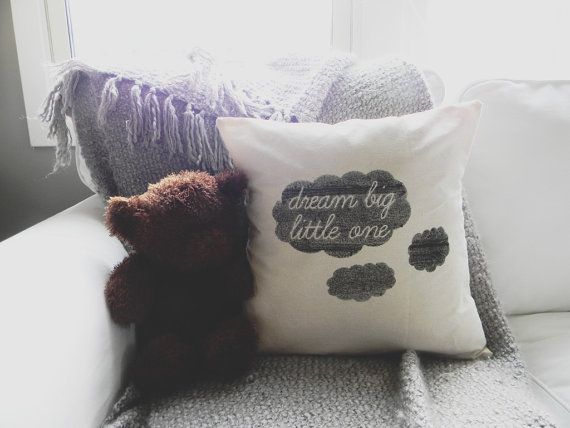 Dream Big Little One 16 x 16 Pillow Cover, home decor, present, new baby gift, nursery pillow, newborn, sweet dreams, cushion cover, throw