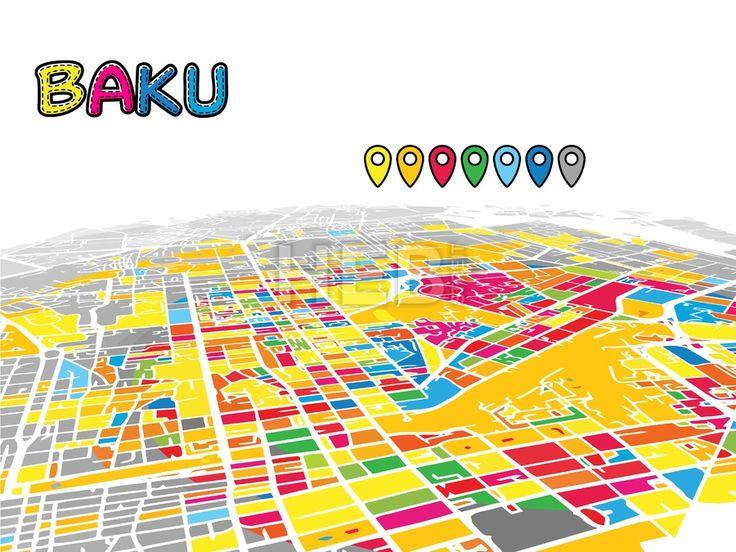 Baku, Azerbaijan, Downtown 3D Vector Map by #Hebstreit #stockimage #capital #travel #beautiful #sketch #greetingcard #design #famous #landmark