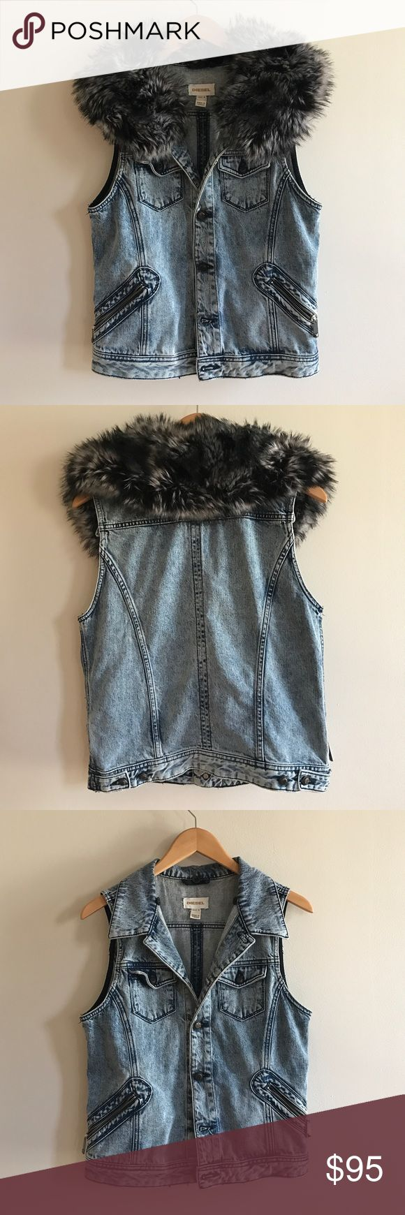 Diesel Denim Vest with Detachable Faux Fur This item is in excellent condition. You might mistake it for brand new! Diesel Jackets & Coats Jean Jackets