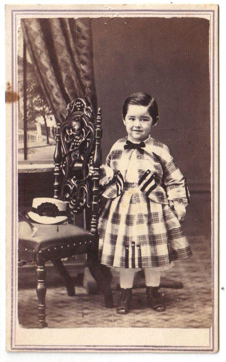 Crisp Civil War Era CDV of Little Boy Dressed in Fancy Plaid Dress Hat on Chair   eBay