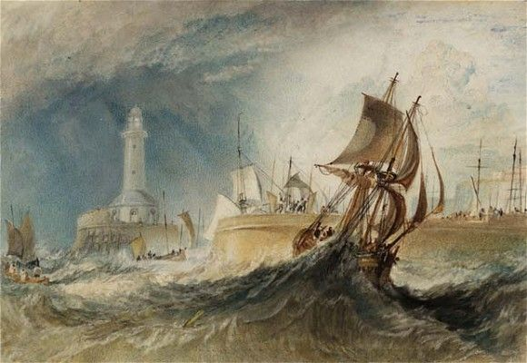 JMW Turner's painting of stormy seas at Ramsgate, England in 1827.