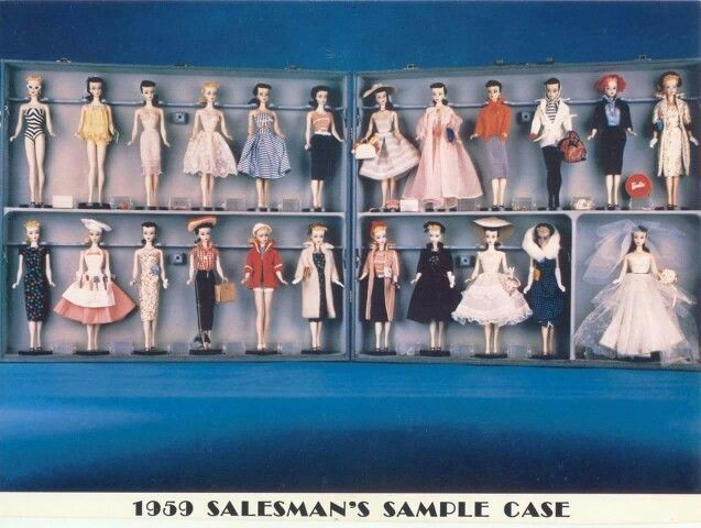 1959 Salesman's Sample Case, the only one known to exist. All Barbie's first year fashions displayed on No. 1 Barbie dolls.