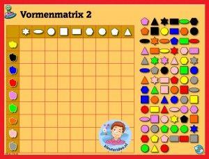 Vormenmatrix  met kleuters op digibord of computer 2, kleuteridee / Shape Game for preschoolers in IWB or computer