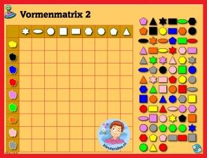 Vormenmatrix  met kleuters op digibord of computer 2, kleuteridee / Shape Game for preschoolers in IWB or computer