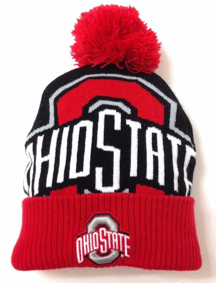 New OHIO STATE POM BEANIE Black/Red/White Cuffed Winter Knit Ski Hat Men/Women #OSU #OhioStateBuckeyes