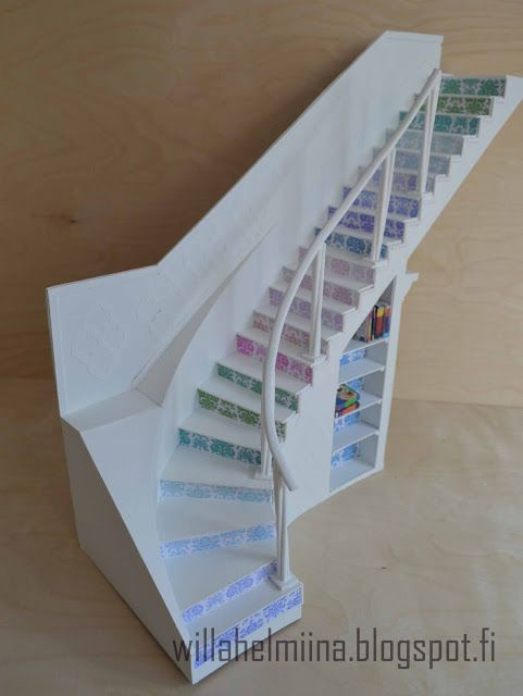 Little Princess doll's house: Curved stairs made of cardboard / Curved staircase made of cardboard ...
