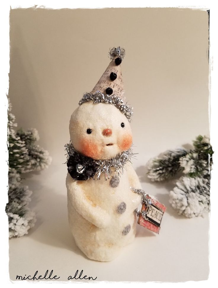 Folk Art paper Clay holiday PEACE SNOWMAN with Music sheet hat handmade by Michelle Allen / Raggedy Pants Designs by RaggedyPantsDesigns on Etsy