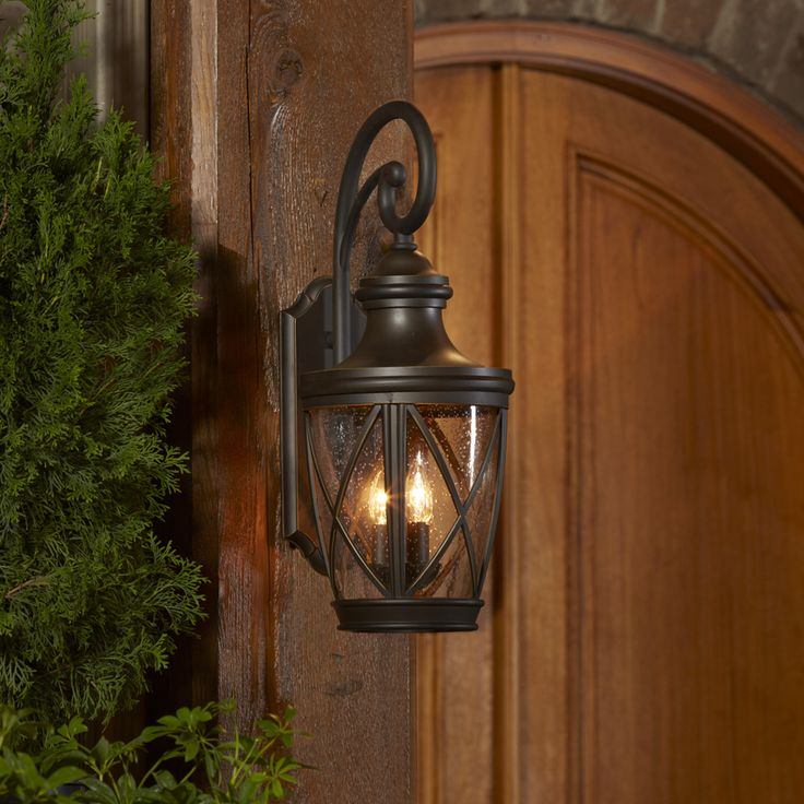 shop allen roth castine 2375in h rubbed bronze outdoor wall light at lowes