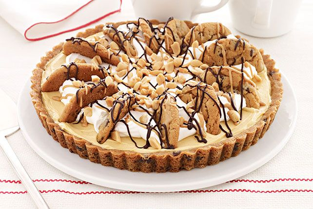 Chocolate and peanut butter are together again, doing what they do best in an easy cream pie with a chocolate chip cookie crust.