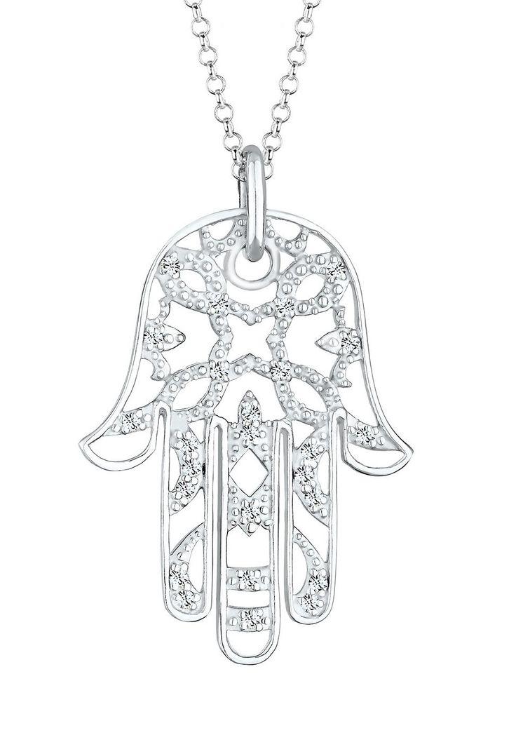 Mystisch, glamourös und atemberaubend schön schützt diese Hand der Fatima ihre Trägerin vor dem bösen Blick. Lass dich von dem luxuriös funkelnden Schutzsymbol aus Kristallen von Swarovski verzaubern und trage diesen außergewöhnlichen 925er Sterling Silber-Halsschmuck als extravagantes Highlight. Dieses exklusive Schmuckstück ist ein Elli PREMIUM Produkt und wird in einem eleganten Geschenk-Etu...