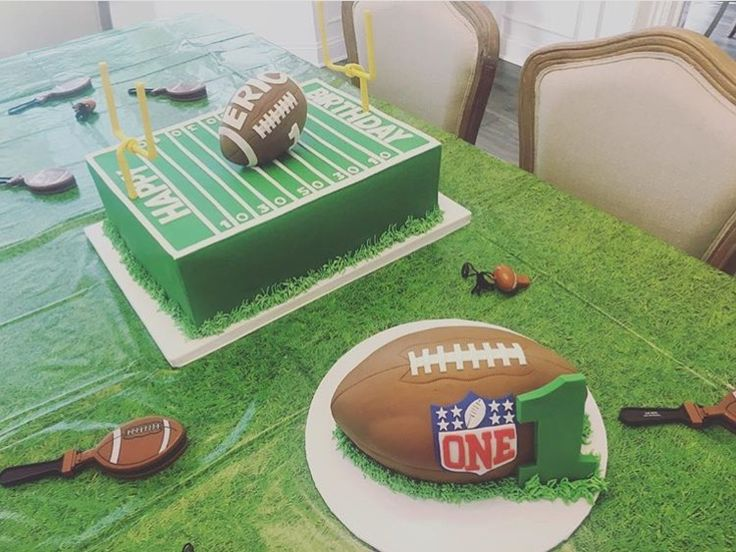 Baby Eric Deckers first birthday cake- football- jets