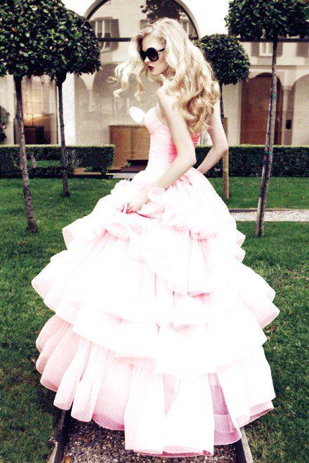 Pink Rocker Wedding Dress Valentines Day Wedding Ideas