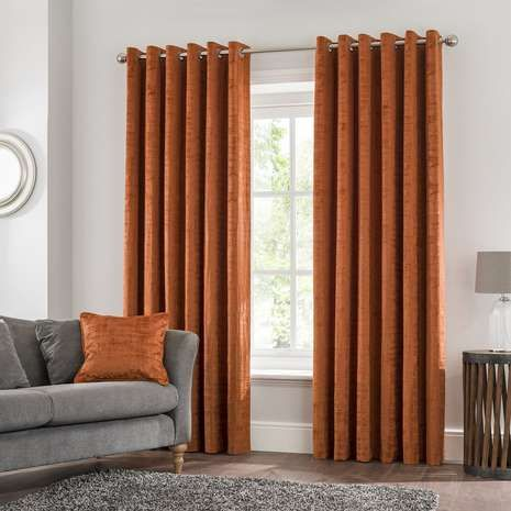 Ruben Rust Eyelet Curtains | Dunelm