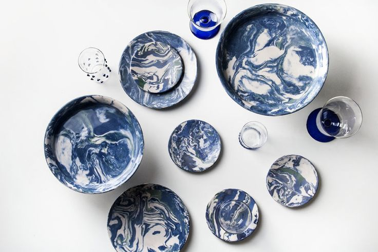 Blue Ebru Ceramic Dinner Plate- Simple Life Istanbul