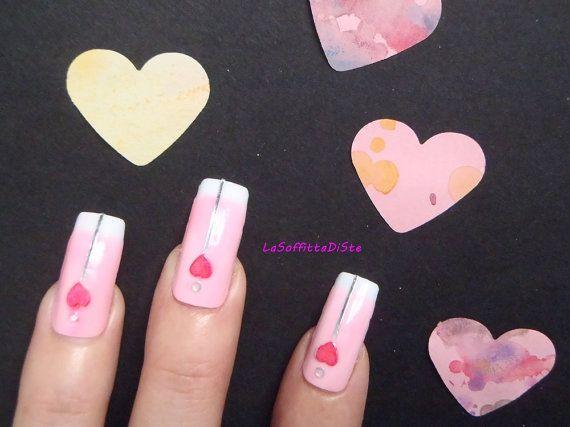 french manicure set unghie rosa cuore 3d strass kei pop matrimonio kawaii nozze damigelle rosa appuntamento regalo squadrate lasoffittadiste