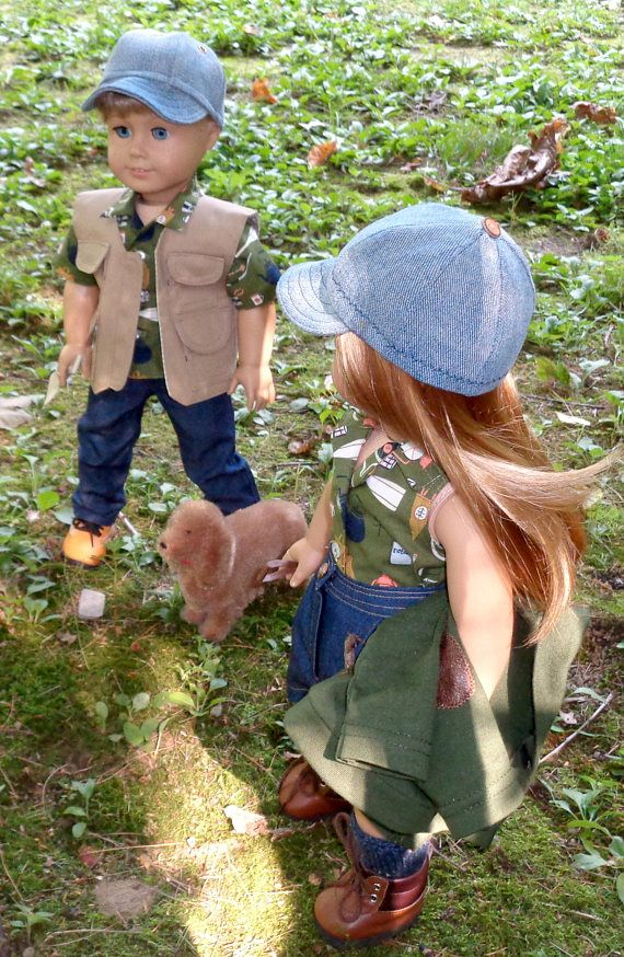 Fall Camp Outfits: Shirt Vest Hat and Pants for 18 inch Dolls, Sugarloaf