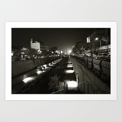 Seoul Stream B/W Art Print by LinnB