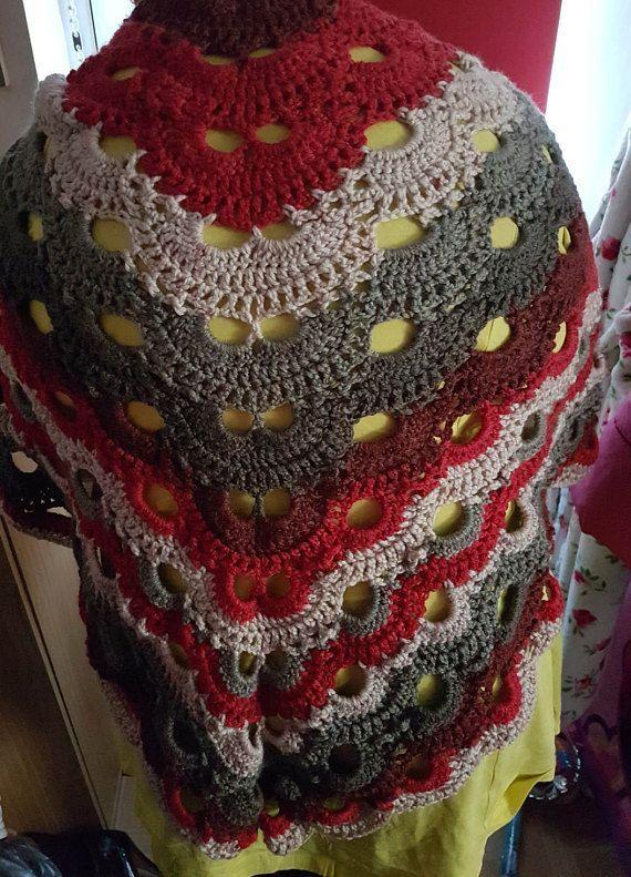 Adult hand crocheted virus pattern shawl