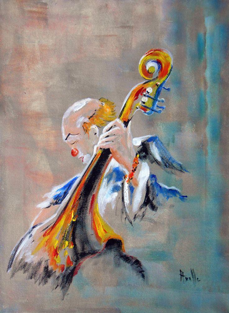 Tableau figuratif musicien Clown contrebasse : Peintures par peintures-axelle-bosler