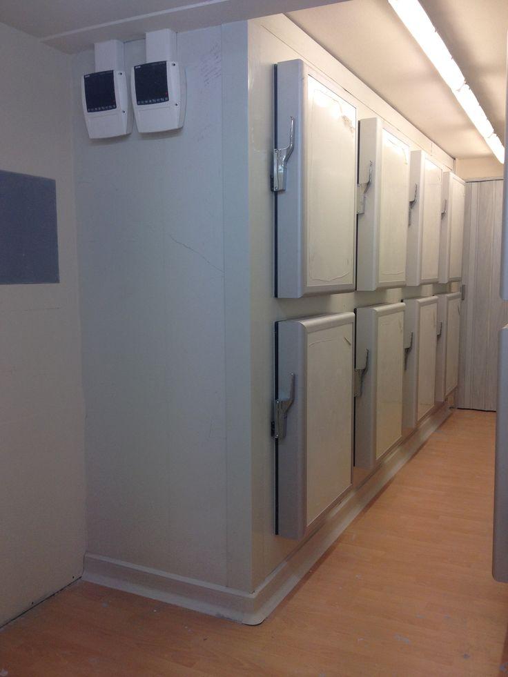 Προκατασκευασμένοι ψυκτικoi θάλαμοι κατακευής μας .Παραδίδονται με οδηγίες τοποθέτησης, όλα τα παρελκόμενα και όλες τις ειδικές κοπές στα πάνελ έτοιμες. Οι πόρτες είναι επίσης κατασκευής μας. Πορτόφυλα 100mm για κατάψυξη και 60mm για συντήρηση.  Φέρουν από 8 πόρτες διαστάσεων 800mmX600mm και είναι κατασκευασμένοι με 100αρι πάνελ, πάτωμα από 100αρι πάνελ και ξύλινη επένδυση επάνω στο πάτωμα. Προαιρετικά μπορείτε να ζητήσετε το θάλαμο και με επένδυση inox επάνω στο ξύλινο δάπεδο.