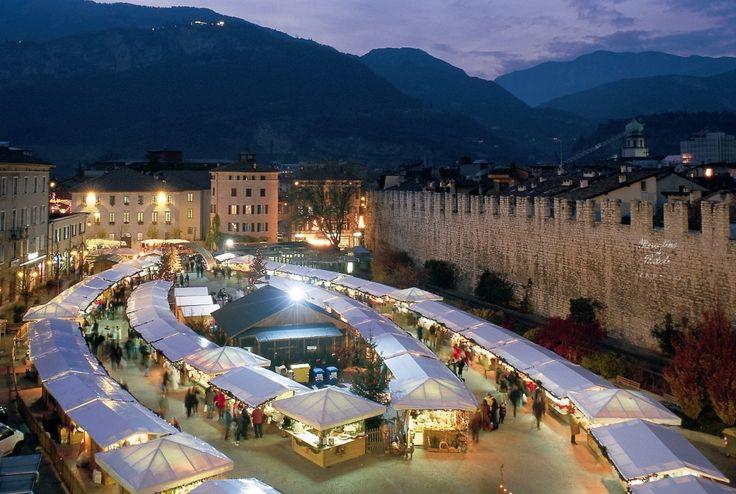 Mercatino di natale – Trentino.  Mountain Christmas markets in Italy can be warm ways to celebrate the holiday season