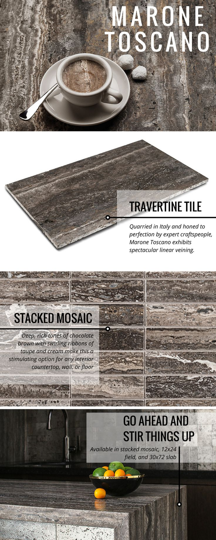 Marone Toscano travertine tile in stacked mosaic and rectangle field options.