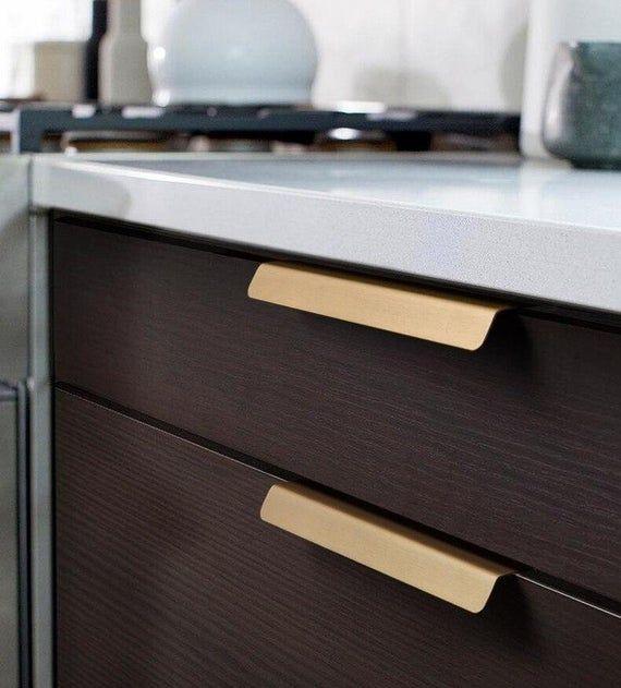 Falkenberg Gold Brass Contemporary Handle Pulls Hardware Etsy Door Handles Furniture Bathroom Cabinets Designs