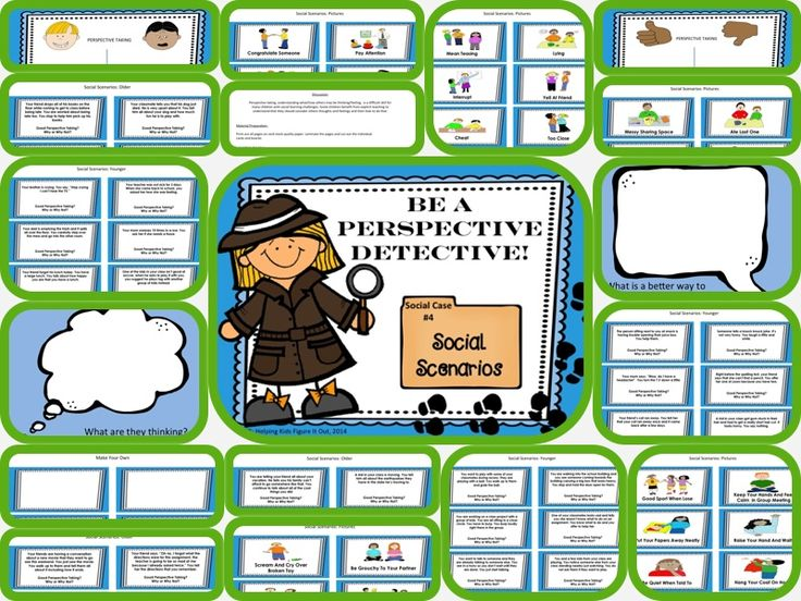 4 Part Perspective Taking Activity and Role-Play This is a fun way to teach perspective taking to children who struggle to understand this important concept. Included are scenario cards for older children, younger children, and picture cards. This activity lends itself well to great discussions and really encourages children to think about others.