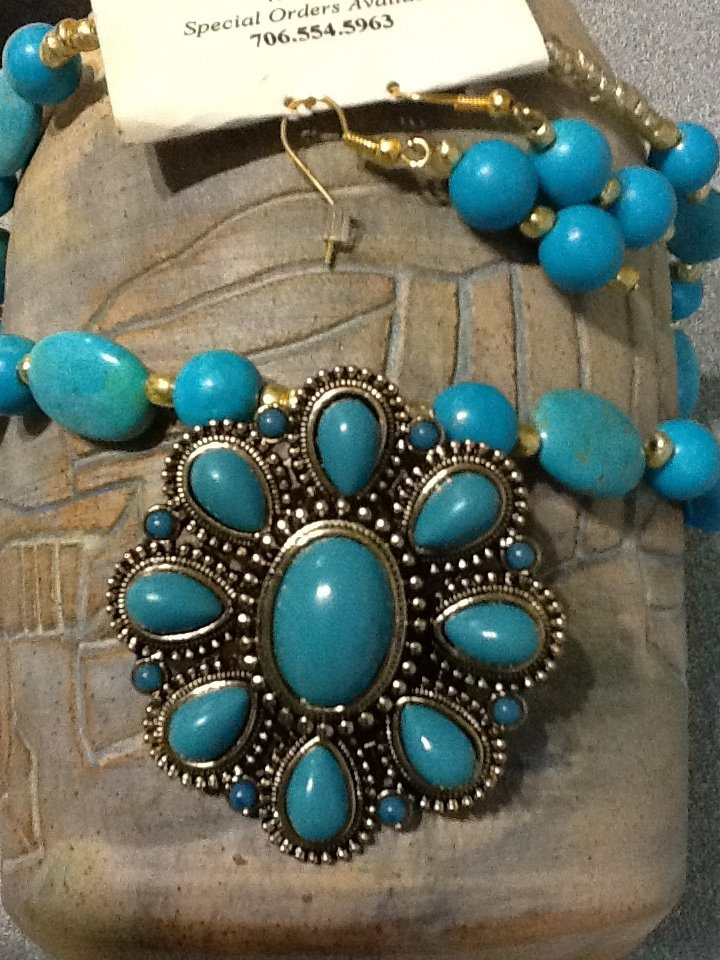 Magnesite and gold toned glass beads, $20.00
