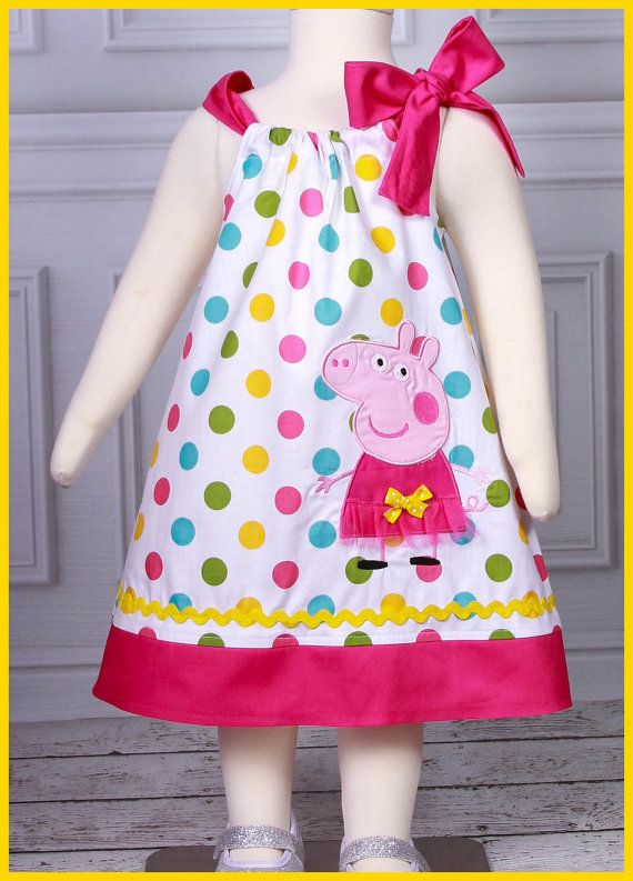 This listing is for the super cute Peppa pig applique dress. Made with a multi color dot fabric and paired with a hot pink the dress