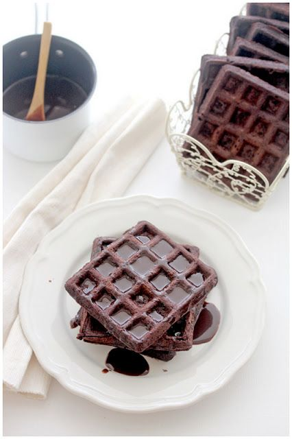 ... chocolate waffles with nutella espresso sauce ...