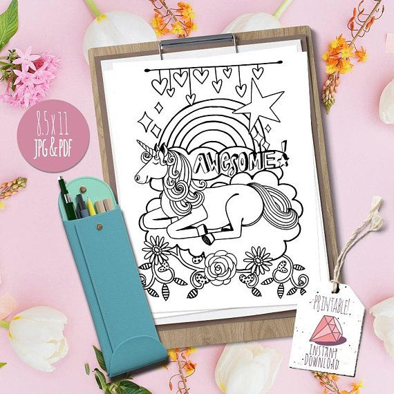 Awesome Unicorn Theme Coloring Page, Instant Download Printable #coloringpage #k…