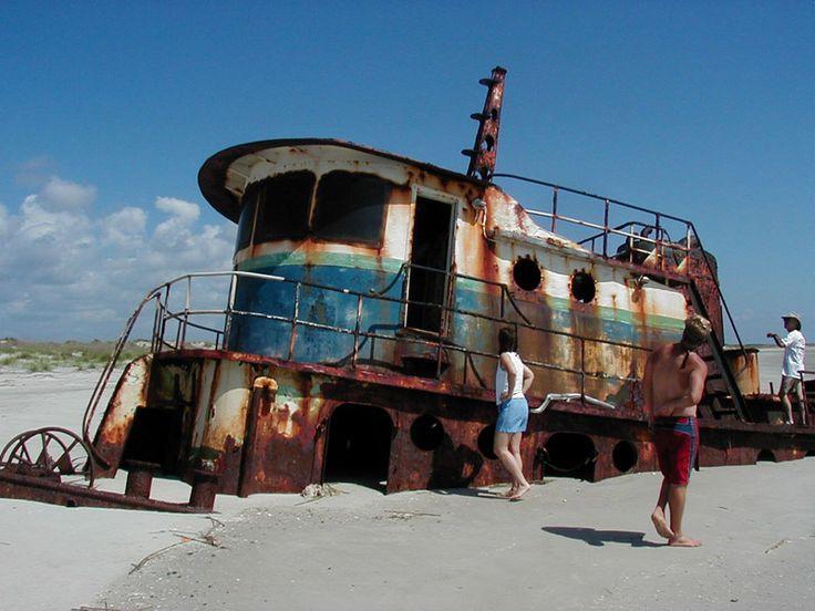 Shipwrecked tugboat on Little Saint Simons Island Beach.