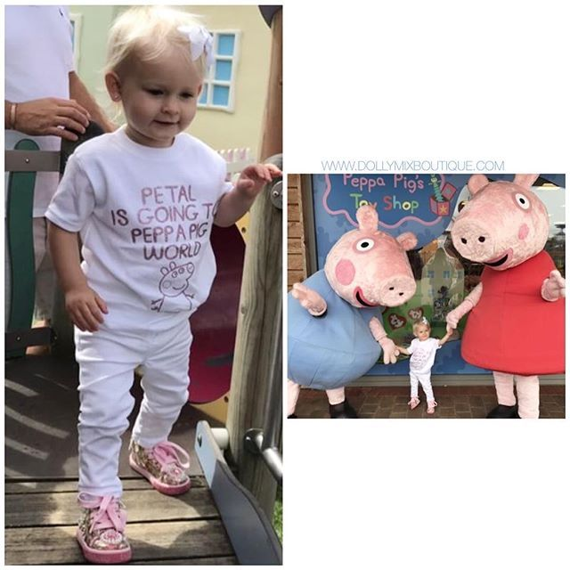 Off to Peppa Pig World this Summer? 🐷🌎 Or any other special days out planned? Just look at Petal in her Personalised Top 💕 CREATE YOUR OWN character tshirt via our website. Any Text/Image/Colours available >>> www.dollymixboutique.com