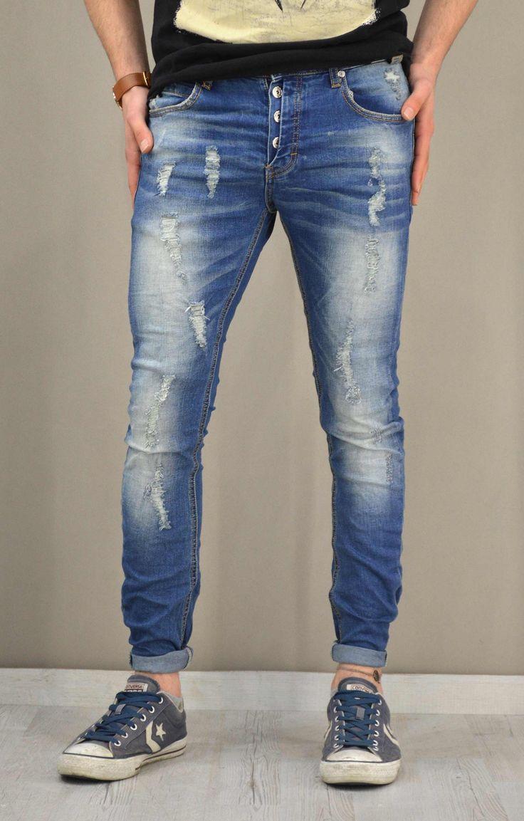 Ανδρικό παντελόνι denim με σκισίματα   Παντελόνια τζίν - Jeans &