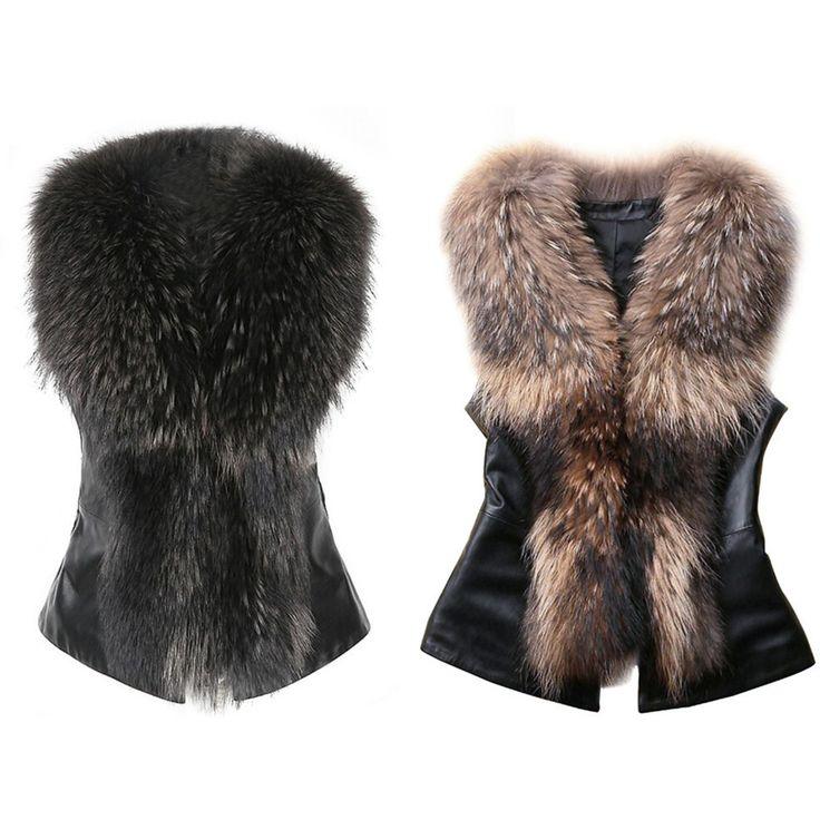 Pas cher sans manches manteau femmes hiver gilet garniture - Chutes de cuir pas cher ...