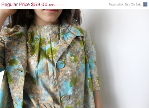 SUMMER SALE 60s Floral dress and Matching by TheLifeAndTimes, $47.20