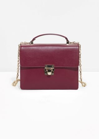 & Other Stories image 1 of Top Handle Leather Bag  in Burgundy
