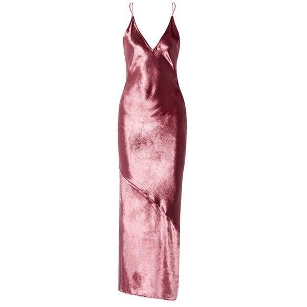 Fleur du Mal Velvet Slip Dress (£535) ❤ liked on Polyvore featuring dresses, maxi, pink, red maxi dress, velvet maxi dress, side slit dress, red slip dress and pink red dress