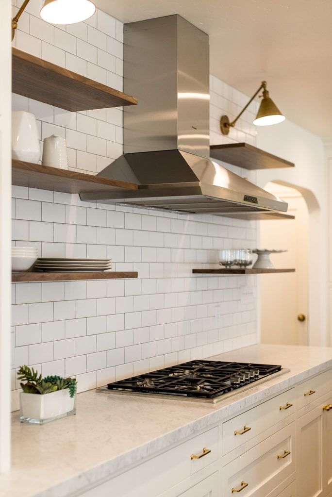 The Key To Floating Shelves Is A Simple Full Wall Ceramic Tile