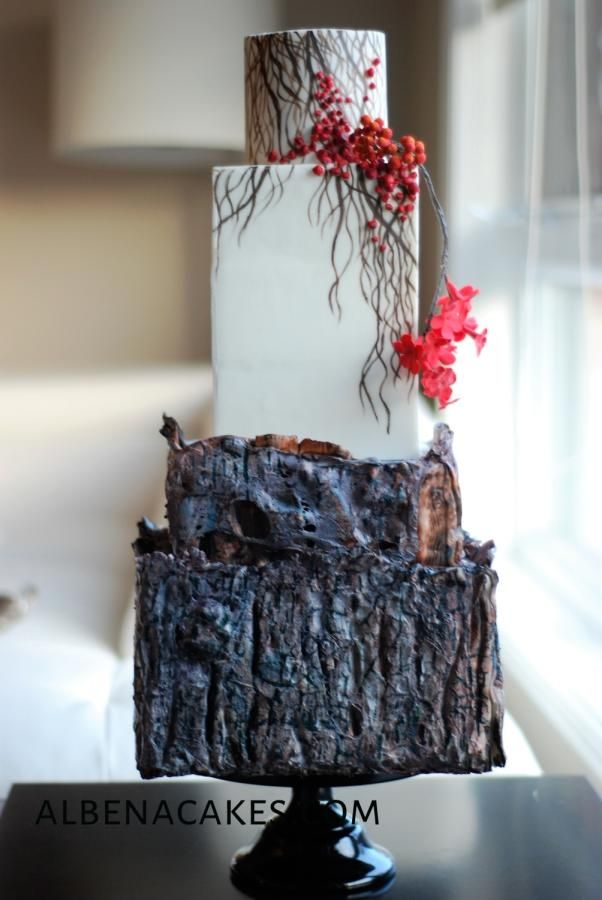 Winter Wedding Cake by Albena - http://cakesdecor.com/cakes/263593-winter-wedding-cake