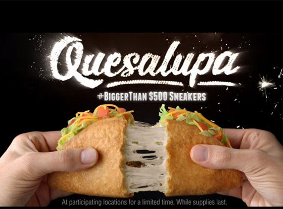 Taco Bell Finally Reveals Its New Menu Item at Super Bowl 2016 and It Is Ridiculous  Taco Bell, Quesalupa, Super Bowl 50