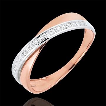 achat en ligne Bague Funambule doubles anneaux or rose et blanc