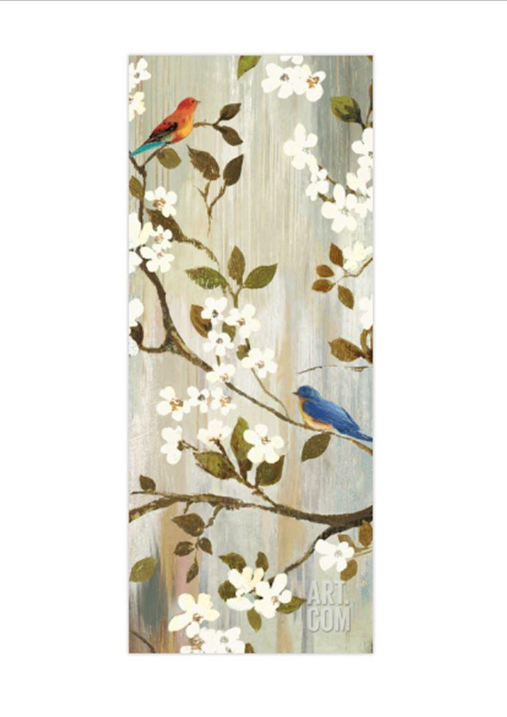 Vogels op takken schilderen op houten planken inspiration for painting inspiratie voor 39 t - Moderne kamer volwassen schilderij ...